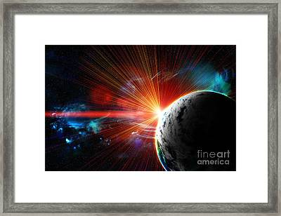 Red Earth The Blue Planet Framed Print by Boon Mee