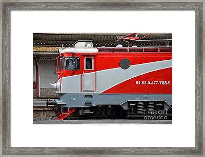 Framed Print featuring the photograph Red Electric Train Locomotive Bucharest Romania by Imran Ahmed