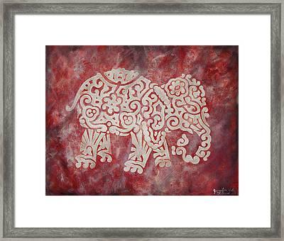 Red Elephant Framed Print by Jennifer Kelly