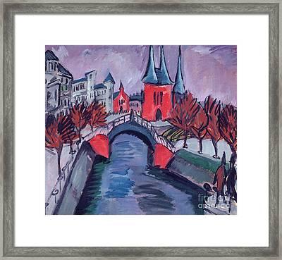 Red Elisabeth Riverbank Berlin Framed Print by Ernst Ludwig Kirchner