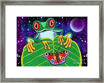 Red Eyed Tree Frog And Moth Framed Print by Nick Gustafson