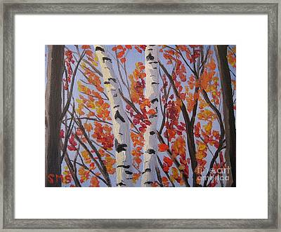 Red Fall Leaves Framed Print