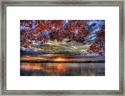 Framed Print featuring the photograph Good Bye Till Tomorrow Fall Leaves Sunset Lake Oconee Georgia by Reid Callaway
