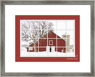 Red Farm House Picture Window Red Barn View  Framed Print