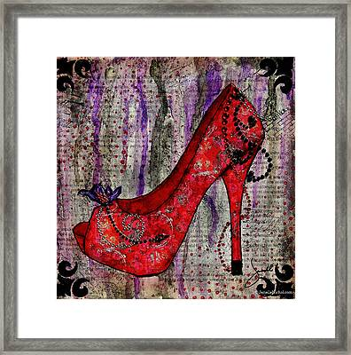 Red Fashion Shoe With Purple Flower  Framed Print
