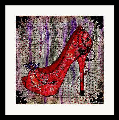 Red Shoes Mixed Media Framed Prints