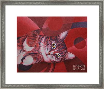 Framed Print featuring the painting Red Feline Geometry by Pamela Clements