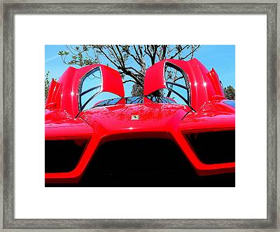 Framed Print featuring the photograph Red Ferrari Doors Open And Front Air Intakes by Jeff Lowe