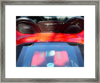 Framed Print featuring the photograph Red Ferrari Engine And Seats by Jeff Lowe