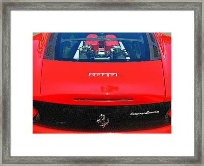 Framed Print featuring the photograph Red Ferrari Engine Window by Jeff Lowe