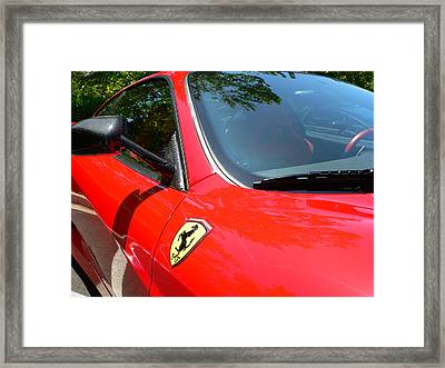 Framed Print featuring the photograph Red Ferrari Right Side by Jeff Lowe