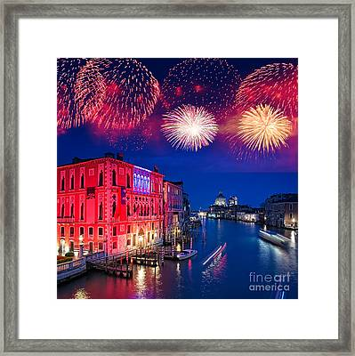 Red Fireworks In Venice Framed Print by Delphimages Photo Creations