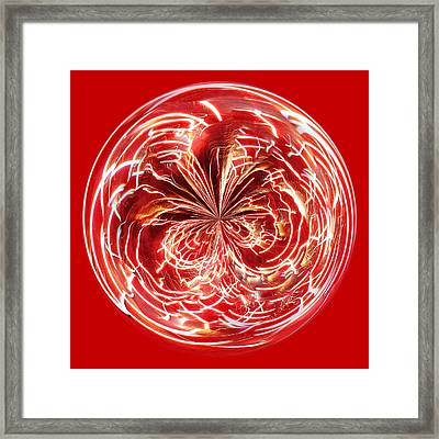 Red Fireworks Orb Framed Print by Paulette Thomas