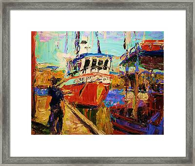 Red Fishboat Framed Print by Brian Simons