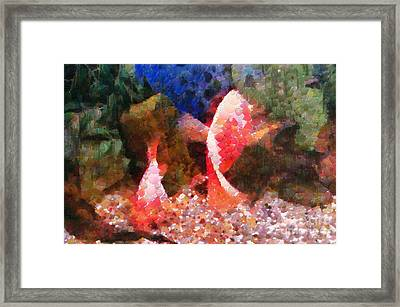 Red Fishes Painting Framed Print by Magomed Magomedagaev