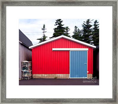 Red Fishing Shack Pei Framed Print by Edward Fielding