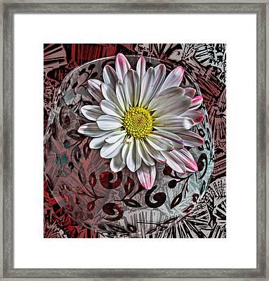 Red Floral Funk Framed Print by Bill Tiepelman