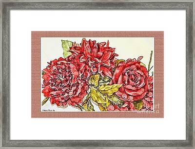 Red Floral Photoart Framed Print by Debbie Portwood