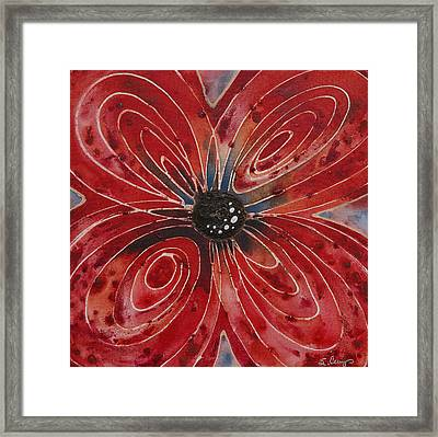 Red Flower 2 - Vibrant Red Floral Art Framed Print by Sharon Cummings