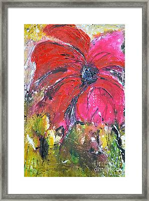 Red Flower - Abstract Painting Framed Print by Ismeta Gruenwald