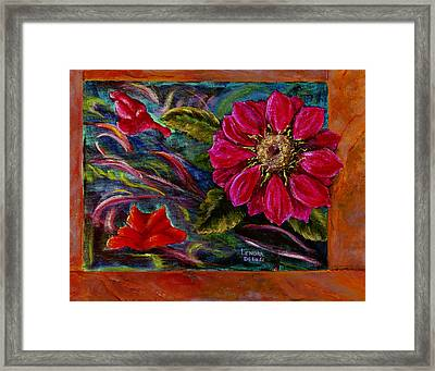 Framed Print featuring the painting Red Flower In Rust And Green by Lenora  De Lude