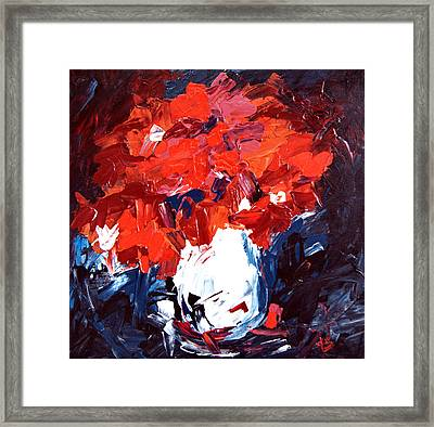 Red Flowers And White Vase   Framed Print by Alena Samsonov