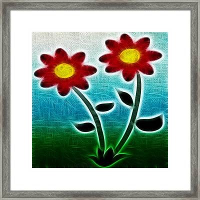 Red Flowers - Digitally Created And Altered With A Filter Framed Print by Gina Lee Manley
