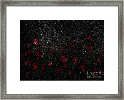 Framed Print featuring the painting Red Flowers In Moonlight by Becky Lupe