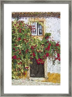 Red Flowers On Vine Framed Print