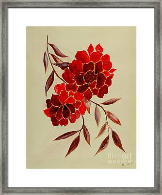 Red Flowers - Painting Framed Print by Veronica Rickard
