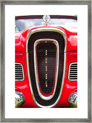 Framed Print featuring the photograph Red Ford Edsel Grill Detail by Mick Flynn
