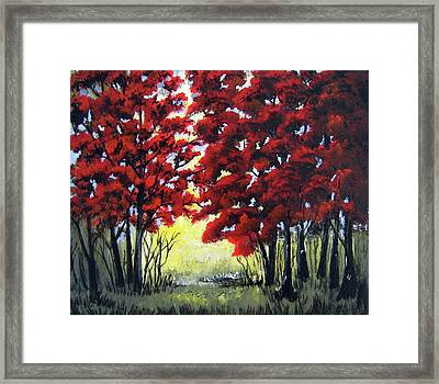 Framed Print featuring the painting Red Forest by Suzanne Theis