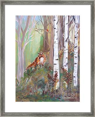 Red Fox And Cardinals Framed Print by Robin Maria Pedrero