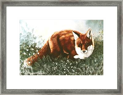 Framed Print featuring the painting Red Fox Hunting by DiDi Higginbotham