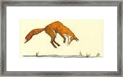 Red Fox Hunting Framed Print by Juan  Bosco