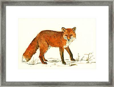 Red Fox In The Snow Framed Print by Juan  Bosco