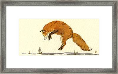 Red Fox Jumping Framed Print by Juan  Bosco