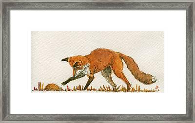 Red Fox Playing Framed Print by Juan  Bosco