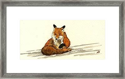 Red Fox Sitting Snow Framed Print by Juan  Bosco