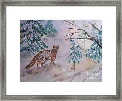 Red Fox - Winter Dawn Framed Print by Ellen Levinson