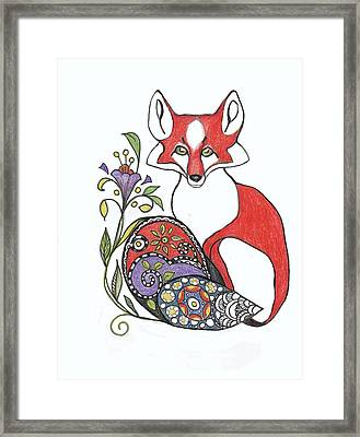 Red Fox With Paisley Tail Framed Print by Peggy Wilson