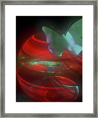 Red Fractal Bowl With Butterfly Framed Print