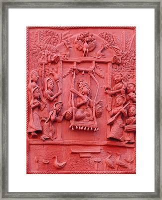 Red Fresco Palace King Women Music 6 Udaipur Rajasthan India Framed Print