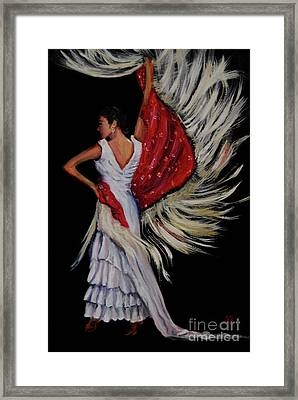 Red Fringed Scarf Framed Print by Nancy Bradley