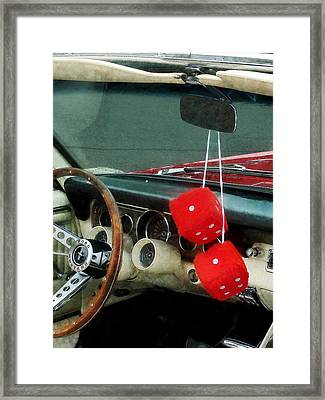 Red Fuzzy Dice In Converible Framed Print by Susan Savad