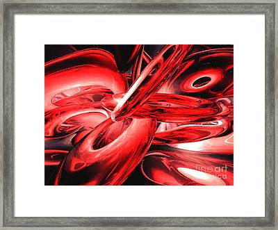 Red Gamma Radiation Painted Abstract Framed Print by Alexander Butler