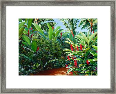 Tropical Jungle Landscape - Red Garden Hawaiian Torch Ginger Wall Art Framed Print