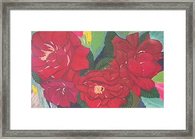 Framed Print featuring the painting Red Garden Roses by Hilda and Jose Garrancho