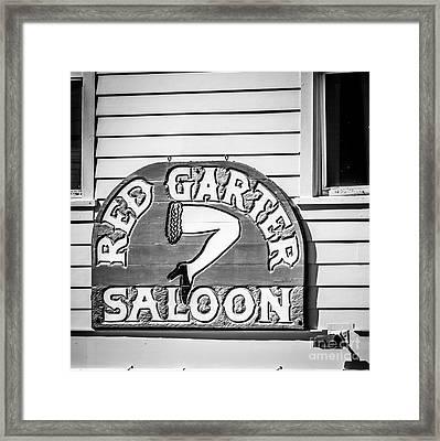 Red Garter Key West - Square - Black And White Framed Print