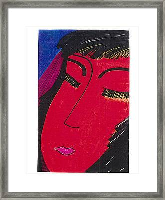 Framed Print featuring the drawing Red Geisha by Don Koester